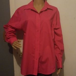 Foxcroft pink long sleeved button up shirt